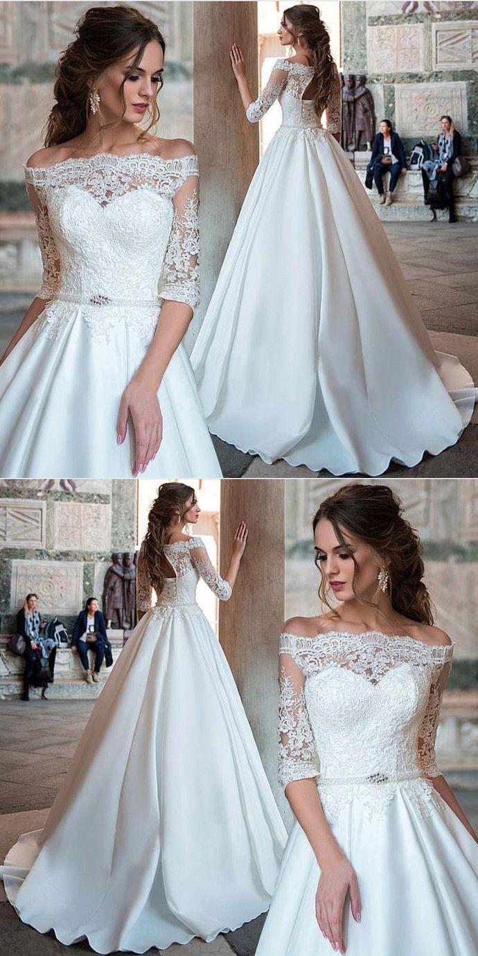 3a411bd522 Elegant Ball Gown Half Sleeve White Lace Satin Off Shoulder Wedding Dress  with Applique  weddingdress
