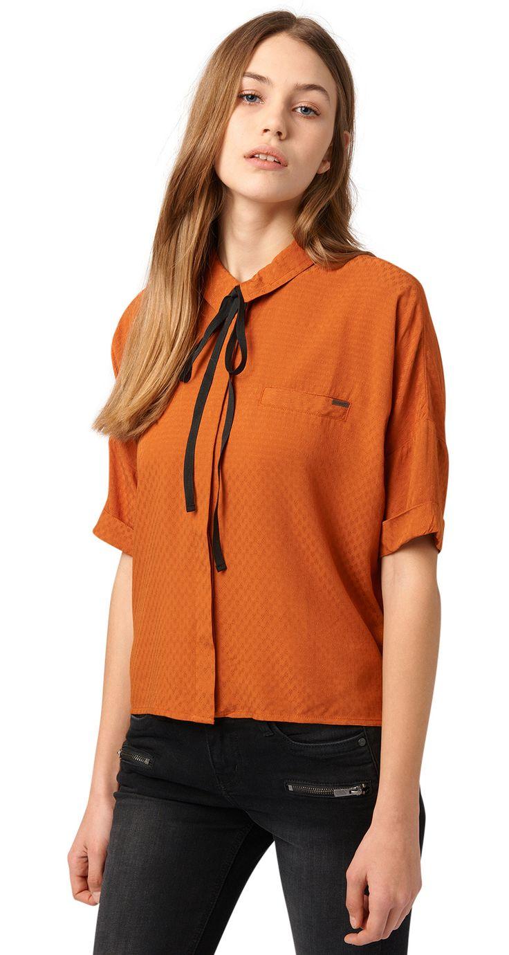 Korte jacquardblouse - cropped jacquard blouse van TOM TAILOR