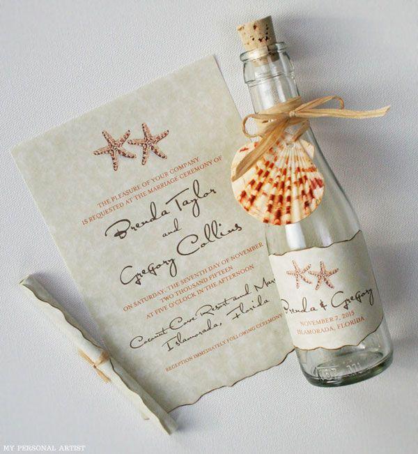 AMEI ESSE!!! Convite na garrafa para casamento na praia