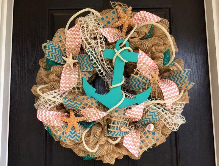 Anchor mesh wreath, burlap nautical wreath, beach wreath,front door beach wreath, nautical wreath by ShellysChicDesigns on Etsy https://www.etsy.com/listing/224594379/anchor-mesh-wreath-burlap-nautical