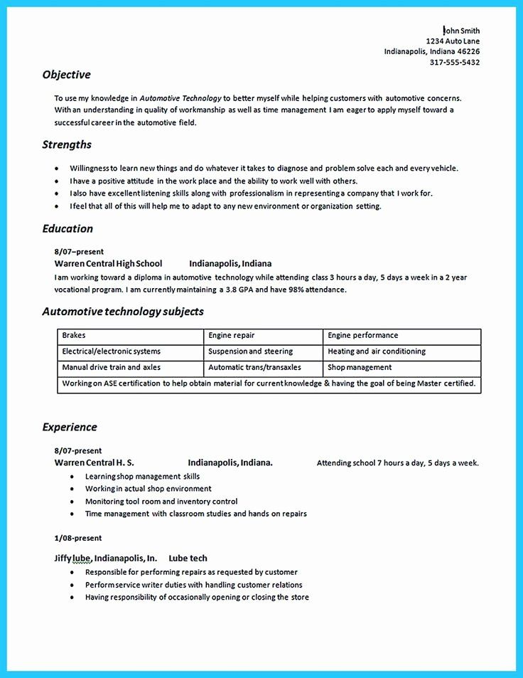 Diesel Mechanic Resume Examples Beautiful To Write An Automotive Technician Resume Is Similar With O In 2020 Resume Objective Examples Resume Examples Resume Objective