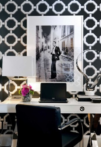 Design: Atmosphere Interior Design, wallpaperDecor, Ideas, Offices Spaces, Black And White, Interiors Design, Workspaces, Black White, Home Offices Design, Contemporary Home Offices