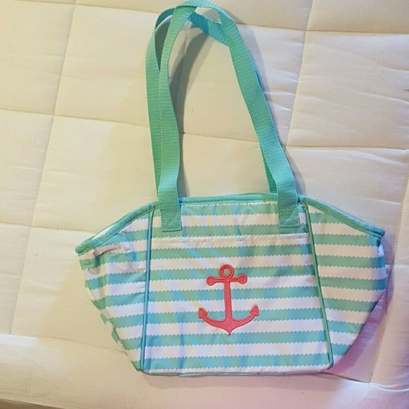 31 lunch break thermal THIRTY ONE lunch break thermal turquoise wave with a coral pink anchor thirty one Bags Totes