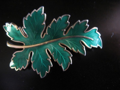 Signed Norway GreenGuilloche Enamel Leaf Brooch MINT | eBay