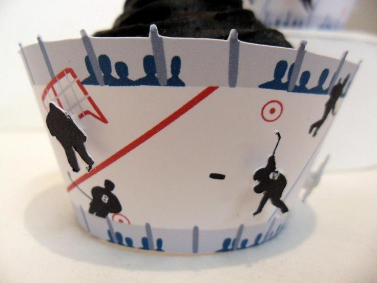 On Sale Hockey Cupcake Wrappers  Set of 12 by cakeadoodledoo, $11.20