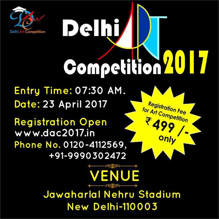 #dac2017 #RegistrationsOpen #ArtCompetitionDelhi2017 Creativity is the power to reject the past, to change the status quo, and to seek new potential. Simply put, aside from using one's imagination - perhaps more importantly - creativity is the power to act. To register for DAC2017, visit our website at https://www.dac2017.in/