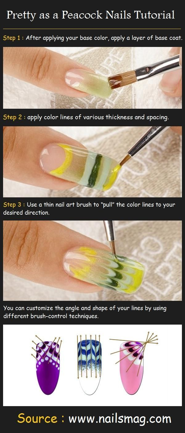 "Pretty as a Peacock Nails Tutorial    How to do :  Step 1 : After applying your base color, apply a thin layer of base coat.  Step 2 : apply color lines of various thickness and spacing.  Step 3 : Use a thin nail art brush to ""pull"" the color lines to your desired direction."