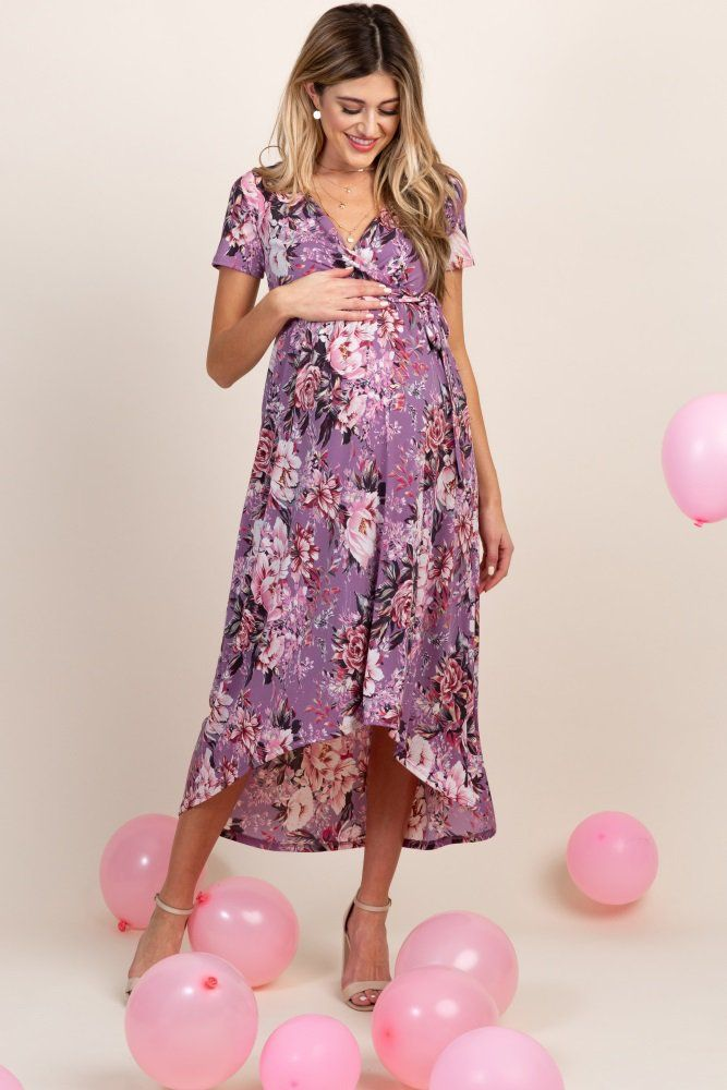 Pinkblush Lavender Floral Hi Low Wrap Maternity Dress Maternity Wrap Dress Maternity Dresses Stylish Maternity Outfits