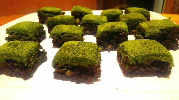 Brownies with matcha glaze