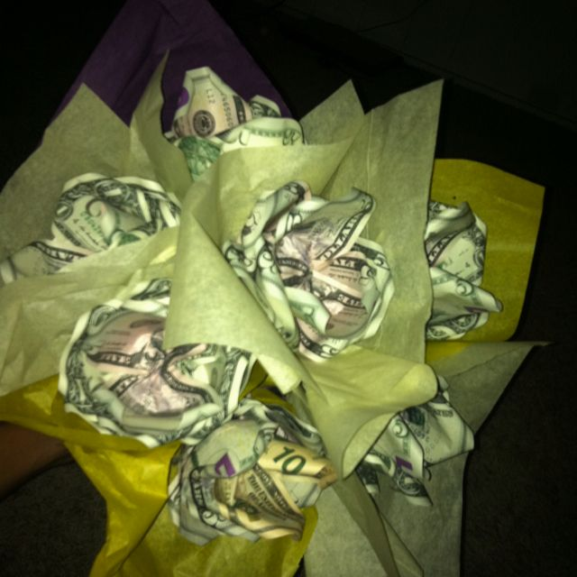 bouquet of roses made out of money