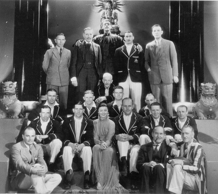 The Australian players photographed with the cast of The Mask of Fu Manchu (1932) including Boris Karloff (as Fu Manchu, back row), Myrna Loy (middle front row) and director Charles Brabin (far right, back row). Bradman is seated 2nd front row, far right. Image courtesy of The Sir Donald Bradman Scrapbook Collection at The State Library of South Australia