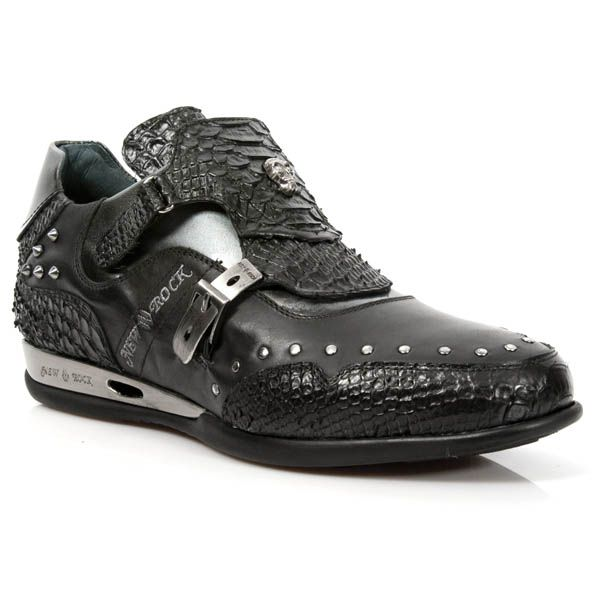 Python Black Leather Dress Sneakers from New Rock Shoes. One velcro buckle, one metal buckle to adjust for comfort and fit. Metal on the heels. Small metal skull and studs on top of shoe. Available in all Unisex Sizes. Ships within a week and a half after order is placed.  NOW ONLY $199.99 w Shipping Included! http://www.newrockbootsusa.com/Python-Black-Leather-Hybrid-Shoes_p_2448.html