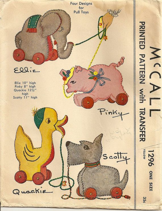 Vintage 1940s Sewing Pattern Animal Pull Toy by PatternPriority, $30.45