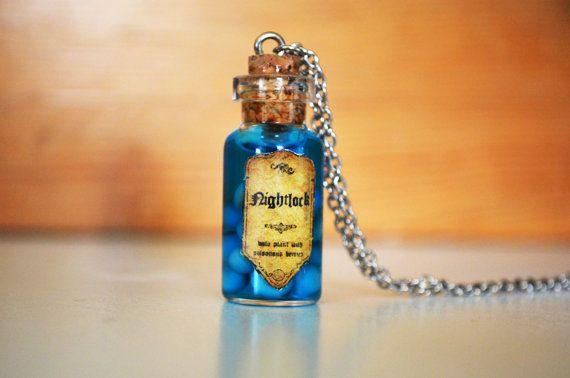 Hunger Games Inspired Bottle Necklace Nightlock Berries Sterling Siver Bottle Necklace on Etsy, $12.99