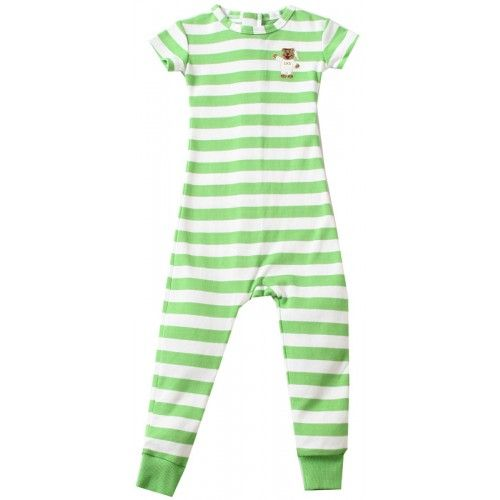 Little Sleeper Keeper escape proof pajamas.  Short Sleeve - Green Stripe.  $25.99