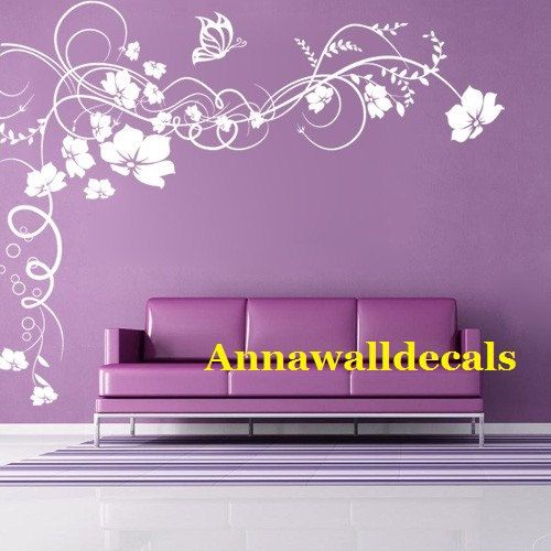butterfly flower decal: wall decals, children wall decals,vinyl wall decal,flowers wall decals,Wall stickers, nursery wall stickers. $58.00, via Etsy.