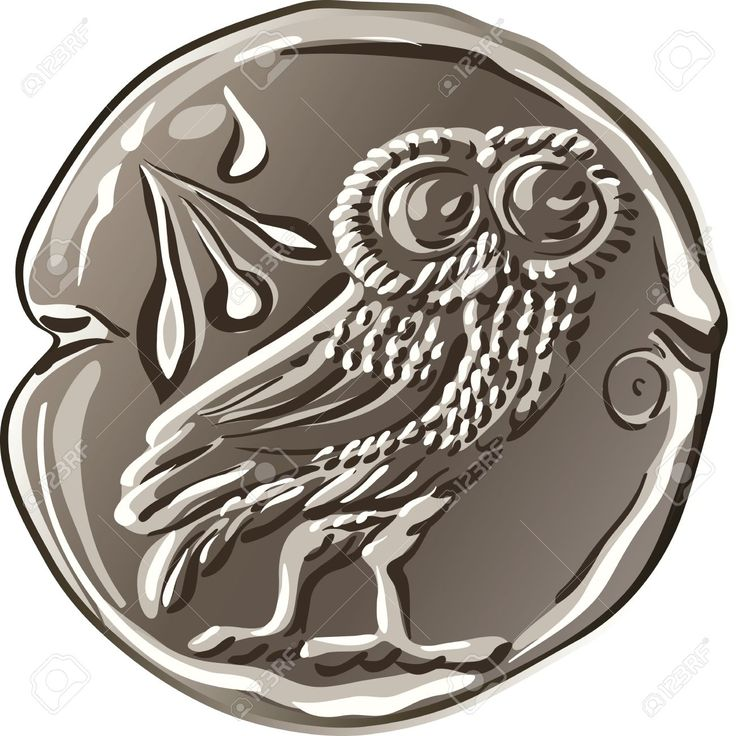 Vector - ancient Greek drachma money silver coin with the image of the owl and…