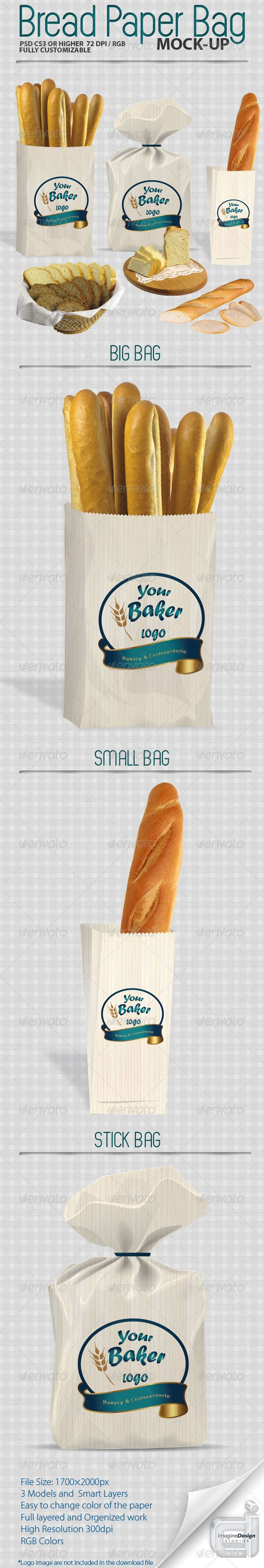 Bread Paper Bag Mockup — Photoshop PSD #mock-up #easy to use • Available here → https://graphicriver.net/item/bread-paper-bag-mockup/501897?ref=pxcr
