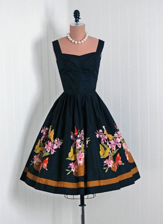 1950's Vintage Watercolor Floral-Garden Butterflies Cotton-Print Couture Shelf-Bust Plunge Full Circle-Skirt Bombshell Sun Dress