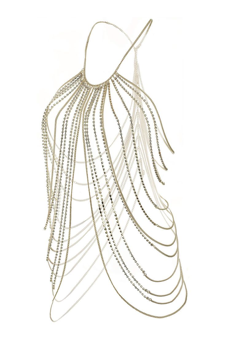 Cup Chain Crystal Body Chain  (To be worn with Black Halter Neck Vest)   #WolfandBadgerXmas