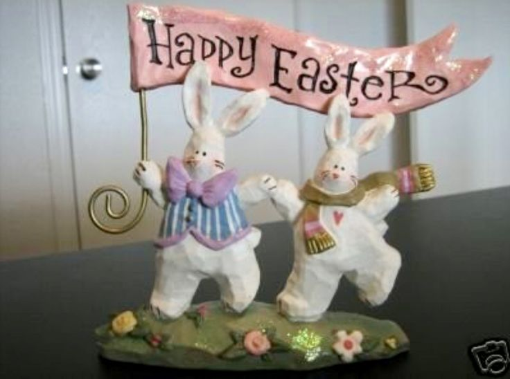 ✔️ Kurt S. Adler Spring Town HAPPY EASTER BUNNIES figurine. Part of a 5-pc Lot: Spring Town GARDEN STORE lighted house, BUNNY CANDLEHOLDER, PLAYFUL BUNNY WITH (blue) EGG, 6 SPRING TOWN EASTER ORNAMENTS ~ eBay: winrway1/Kathleen Christie (winrway1@sbcglobal.net) P90+19 Mar '17