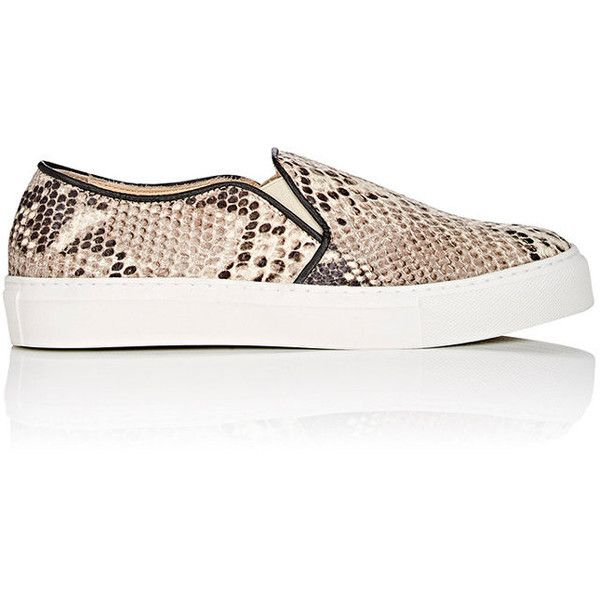 Barneys New York Women's Stamped Leather Slip-On Sneakers ($140) ❤ liked on Polyvore featuring shoes, sneakers, multicolor sneakers, colorful sneakers, round cap, slip-on sneakers and pull on sneakers