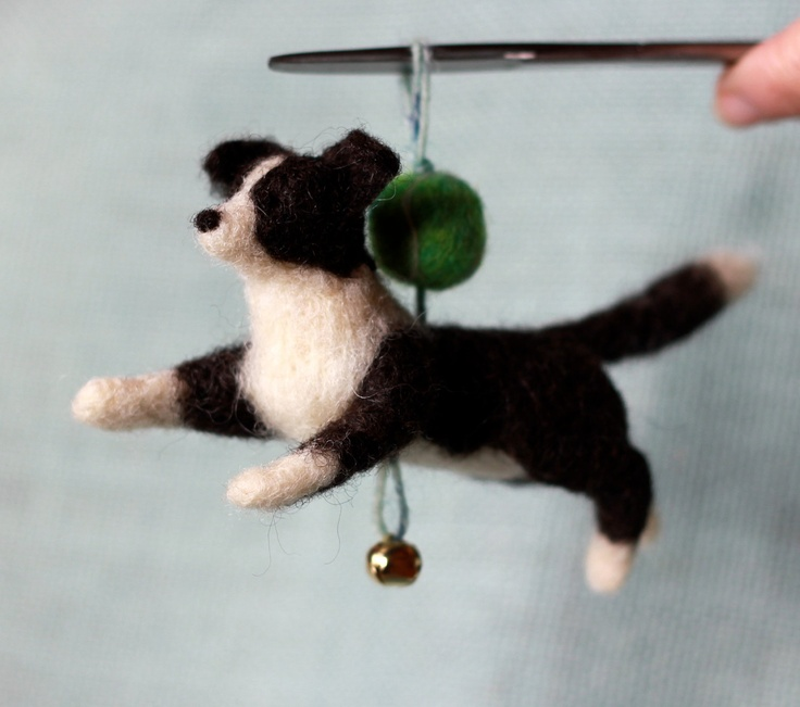 Border Collie and Tennis Ball - Ornament Decoration. via Etsy.