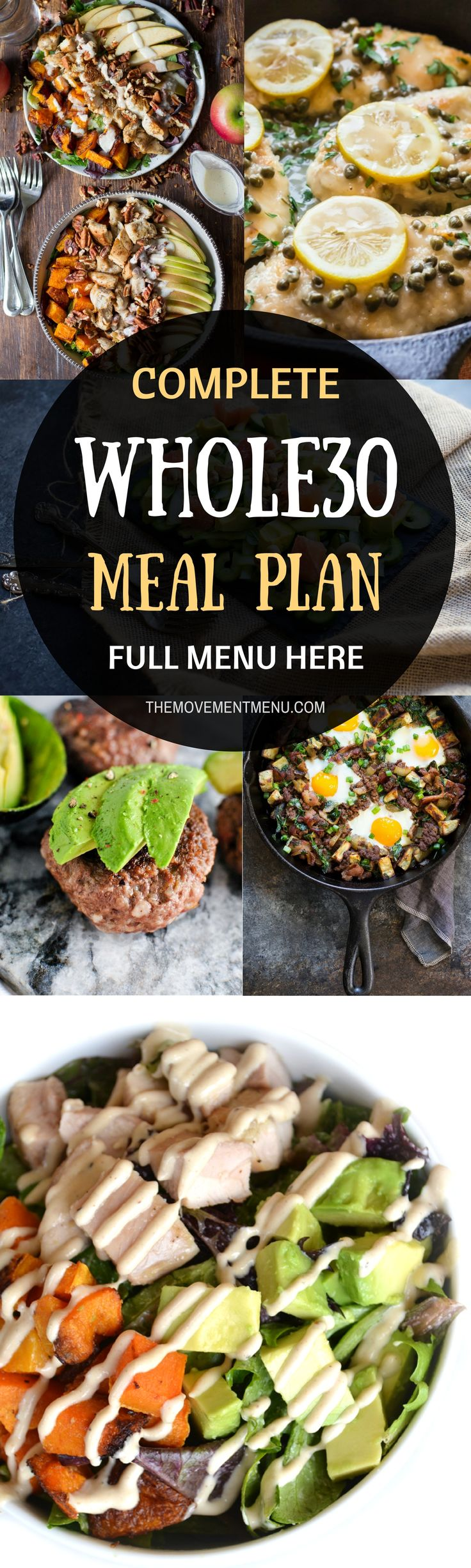Whole30 meal plan that's quick and healthy! A complete, full menu for your Whole30! Whole30 recipes just for you. Whole30 meal planning. Whole30 meal prep. Healthy paleo meals. Healthy Whole30 recipes. Easy Whole30 recipes. Best paleo shopping guide. via @themovementmenu