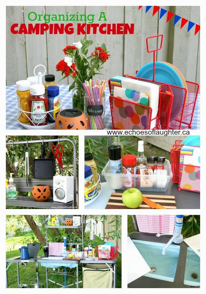 Organizing a Camping Kitchen great tips here.  Whether it be at the picnic table or inside the trailer.