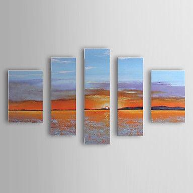 現代アートなモダン キャンバスアート 絵 壁 壁掛け 油絵の特大抽象画5枚で1セット 日の出 海 ビーチ 遠浅 海岸 オレンジ【納期】お取り寄せ2~3週間前後で発送予定【送料無料】ポイント
