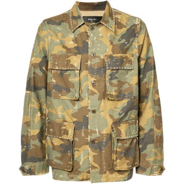 Amiri military shirt jacket (€985) ❤ liked on Polyvore featuring men's fashion, men's clothing, men's outerwear, men's jackets, green, mens green military style jacket, mens military style jacket, mens green military jacket, mens military jacket and mens cotton military jacket