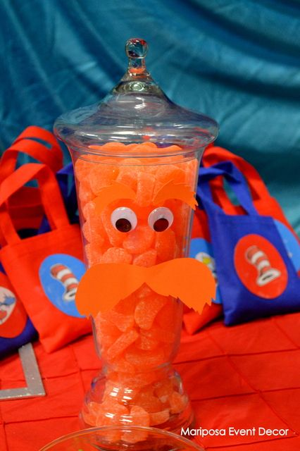 Candy jar Lorax for a Dr Suess party or baby shower. This could also be a guess how many pieces & win the Lorax. #drseuss #party