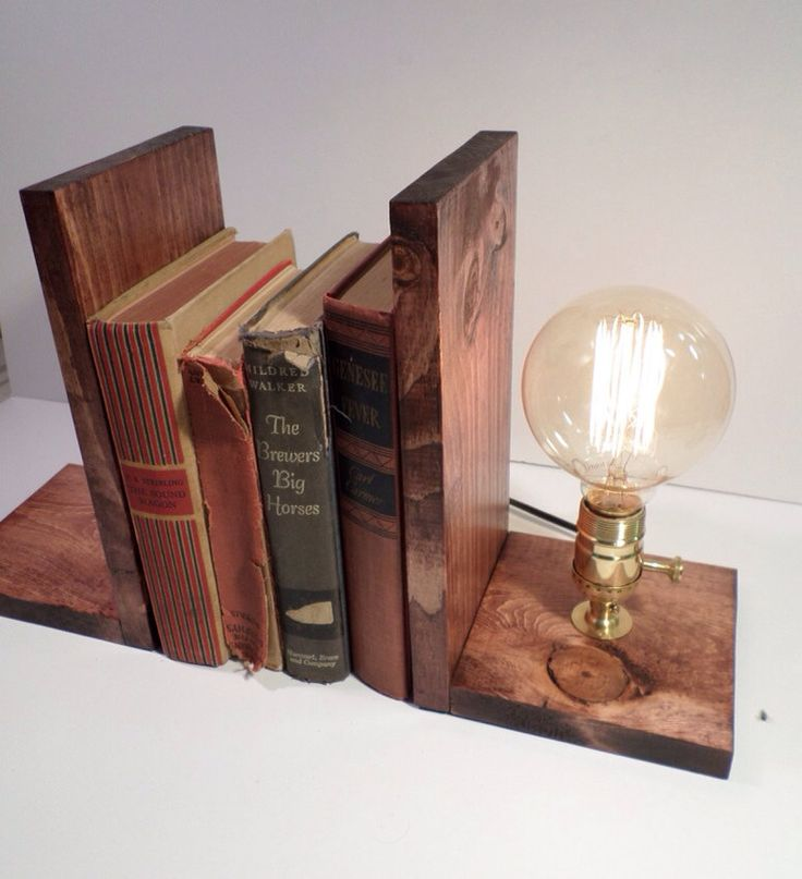Unique Bookend lamp-Unique table lamp-Steampunk table lamp-Vintage style lamp light-Edison bulb lamp-Bedside lamp light-Rustic lighting