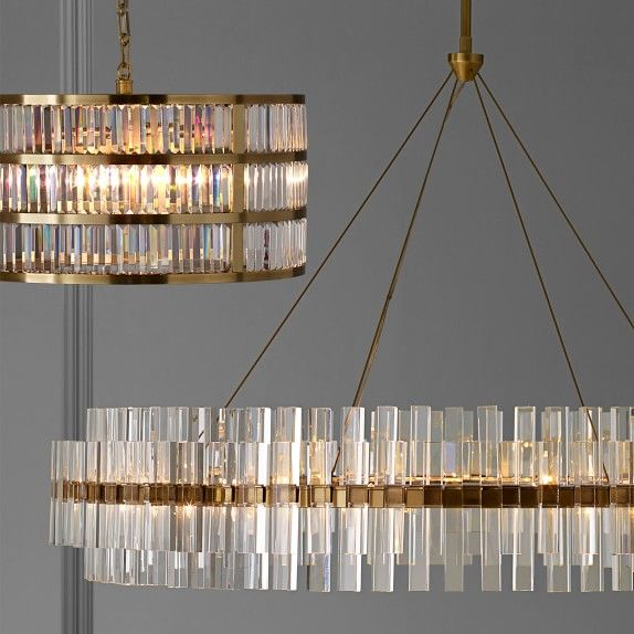 Phoebe 48 Round Crystal Chandelier Antique Brass Williams Sonoma Modern Lighting Chandeliers Led Crystal Chandelier Crystal Chandelier