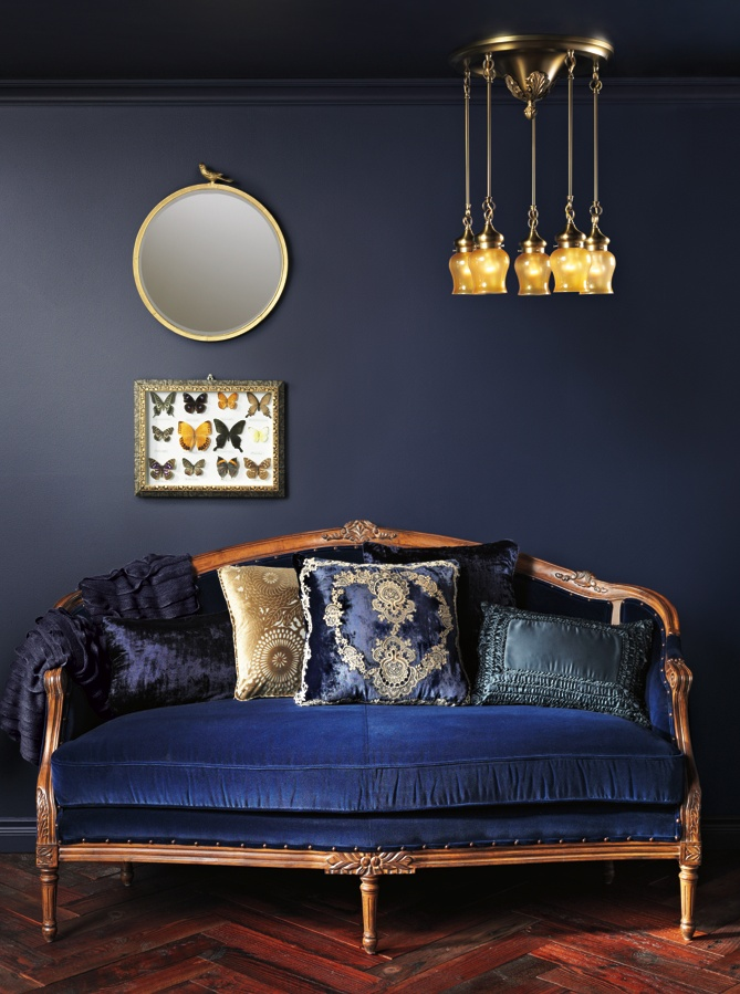 Rejuvenation's Thomas - Neoclassical Flush Ceiling Shower - #vintage couch. I love it all, the butterflies, the mirror, the light, the sofa and the Blue!