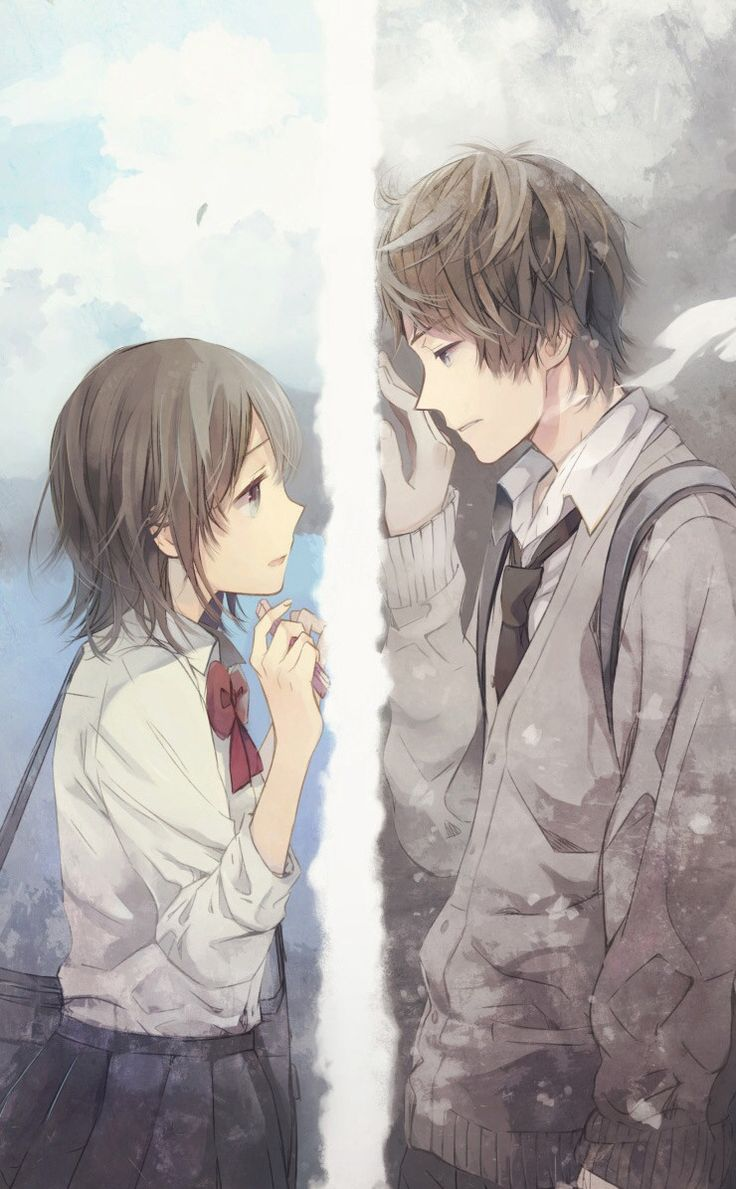 Sad Love Animation Wallpaper : cute anime couple in their school uniforms! cute anime couples Pinterest couple, Anime ...