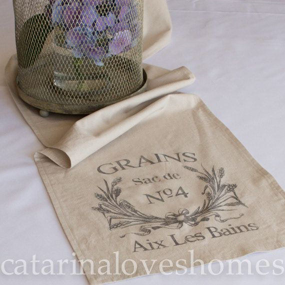 Exceptional Linen Table Runner Vintage French Inspired By Catarinaloveshomes