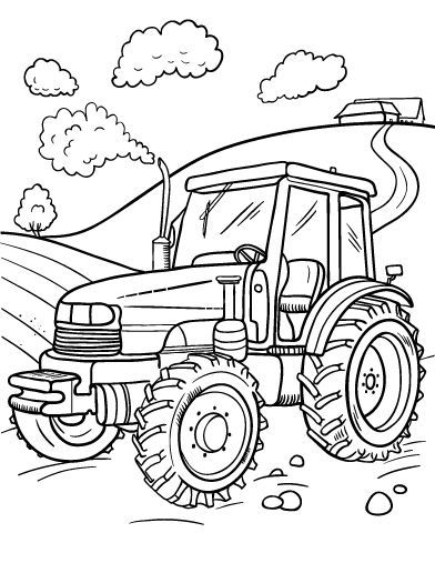 Printable tractor coloring page. Free PDF download at http://coloringcafe.com/coloring-pages/tractor/