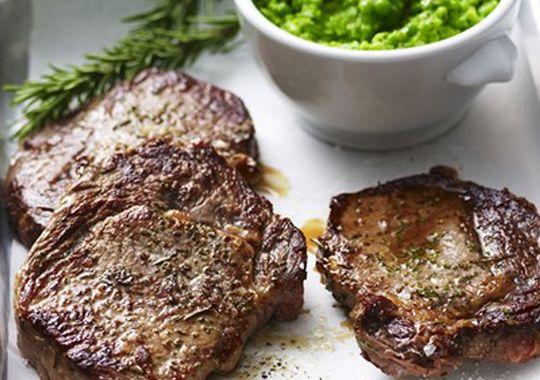 Steak with Pea Puree