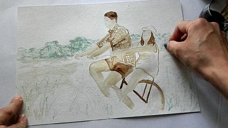 🎨 How to draw a bike ride (coffee and pastel) / Как нарисовать велопрогу...