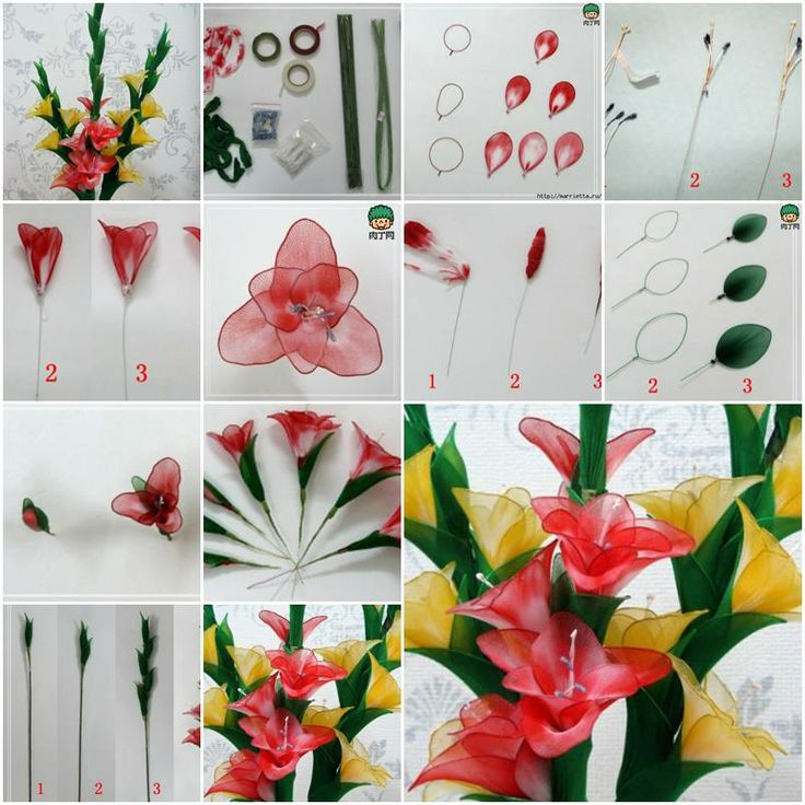 How to make Nylon Galdiolus Flower step by step DIY tutorial instructions, How to, how to make, step by step, picture tutorials, diy instructions, craft, do it yourself
