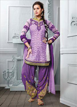 Lavender Cotton Patiala Suit