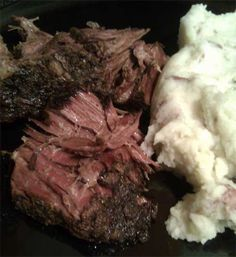 Recipe for Crockpot Roast Beef: 4# beef sirloin tip roast, 1/2 c flour (divided), 1 env each onion soup mix & brown gravy mix, 2 c. cold water, Hot mashed potatoes. Cut roast in half and rub with 1/4 c flour. Place in slow cooker. In a bowl combine packet & 1/4 c flour. Slowly stir in water til blended. Pour over roast. Cook on low 6-8 hours. ~Elaine