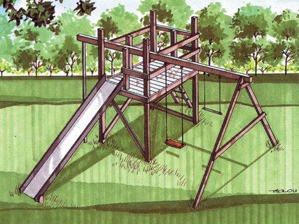 playhouse forts with swings   Jungle Gym Plans - Playhouse Fort Cubbyhouse Wood Plans