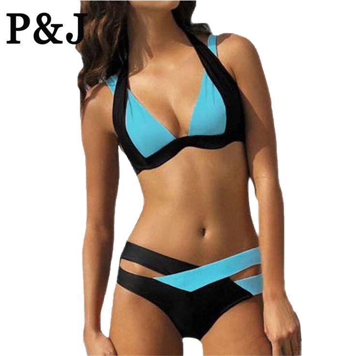 2016 New Mix color sexy two piece adjust bust Summer Style  Bikini Set Push Up Swimsuits Swimwear Cross Bandage Bathing Suits