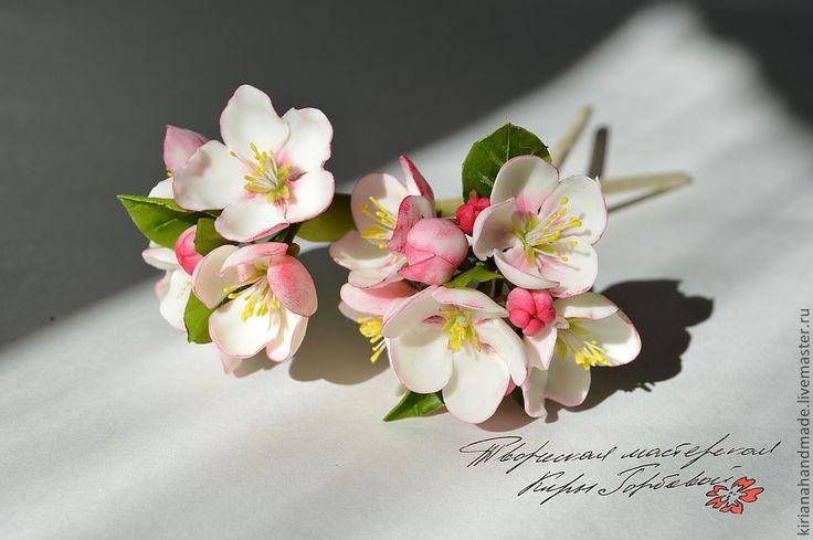 Купить Палочки для волос с цветами яблони - бледно-розовый, Холодный фарфор, цветы яблони, яблоня