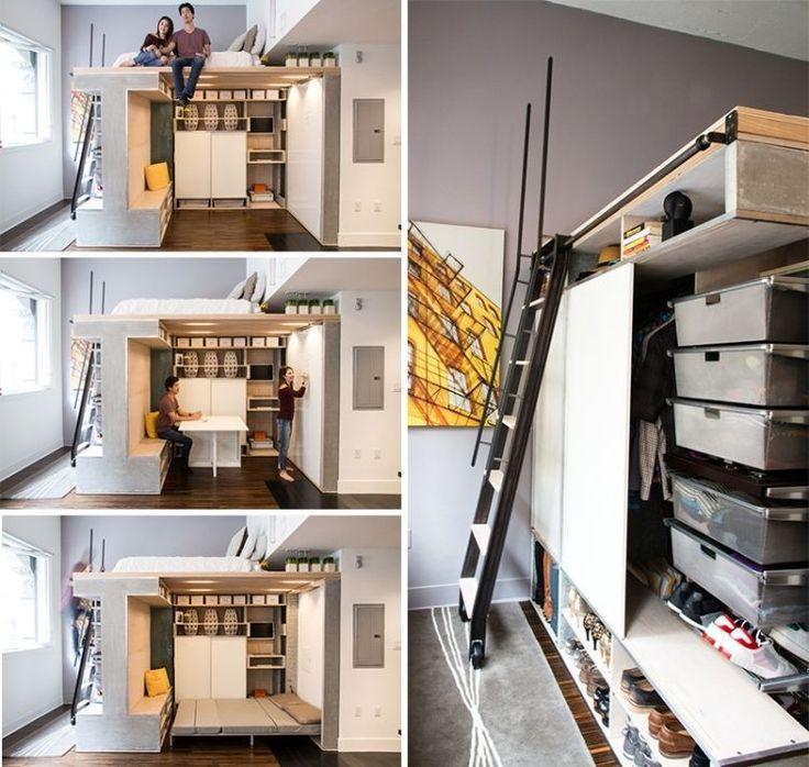 Lit Superpose Gain De Place #15: Lit Mezzanine 2 Places - 9 Idées Gain De Place Chambre Adulte