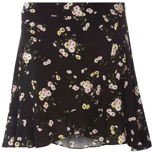 Dorothy Perkins Petite Black Floral Mini Skirt ($39) ❤ liked on Polyvore featuring skirts, mini skirts, black, petite, petite skirts, floral mini skirt, frilly skirt, short ruffle skirt and floral print mini skirt