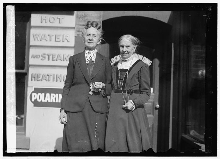 Belva Lockwood with Reverend Olympia Brown, the first woman in US history to become a fully ordained minister with a degree from a regularly established theological school, in 1913. Brown also tirelessly campaigned for suffrage and equal rights for women. (US Library of Congress)