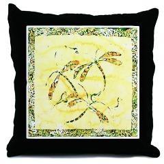 Dragonflies 1 Throw Pillow > Dragonflies 1 > KatieArt - Batiks